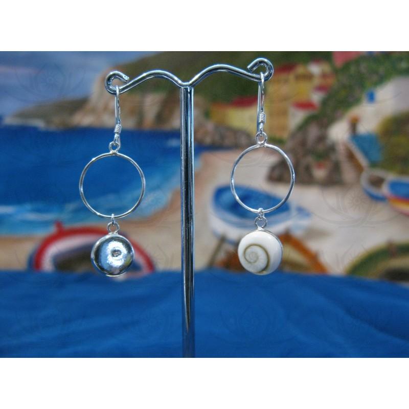 LE 0192 Earrings Shiva Eye Shell Silver