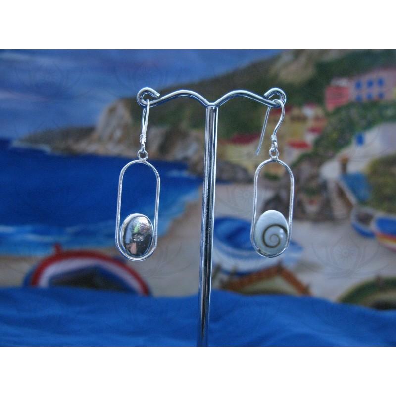 LE 0194 Earrings Shiva Eye Shell Silver