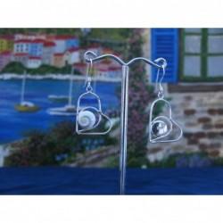 LE 0195 Earrings Shiva Eye Shell Silver