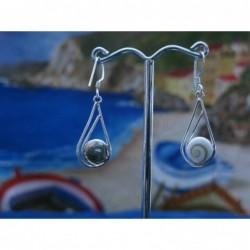 LE 0196 Earrings Shiva Eye Shell Silver