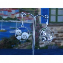 LE 0197 Earrings Shiva Eye Shell Silver