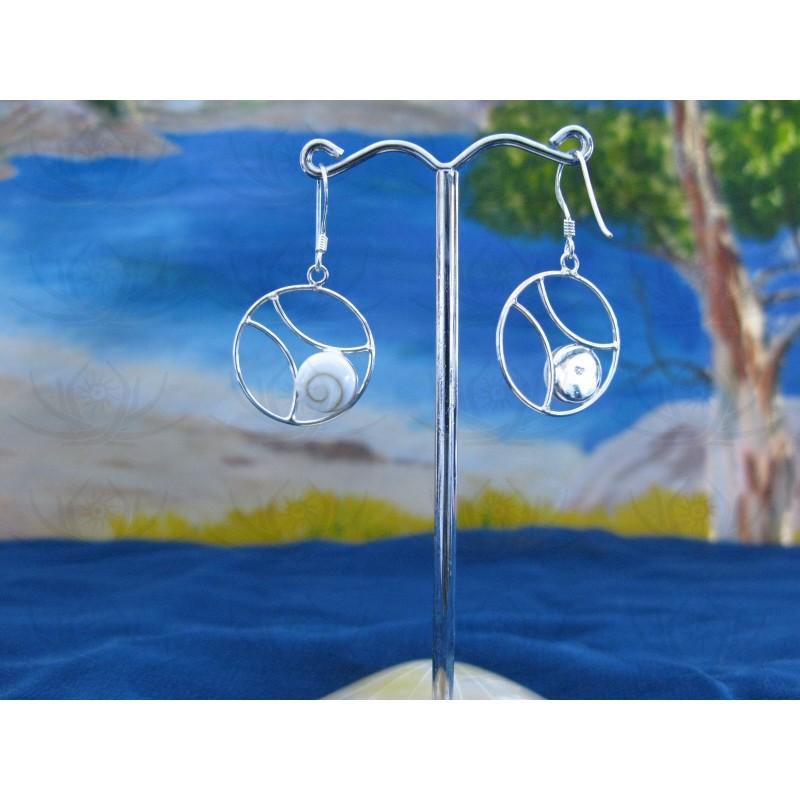 LE 0198 Earrings Shiva Eye Shell Silver