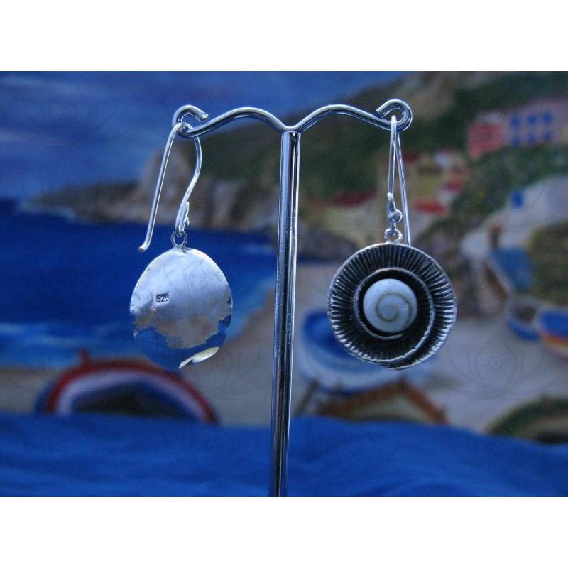 LE 0205 Earrings Shiva Eye Shell Silver