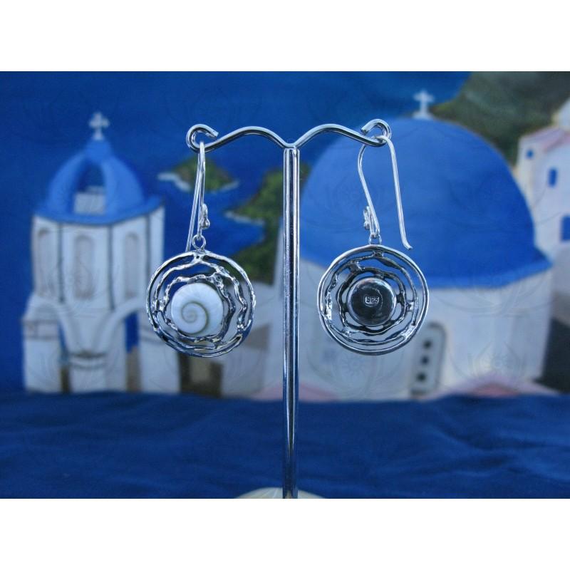 LE 0206 Earrings Shiva Eye Shell Silver