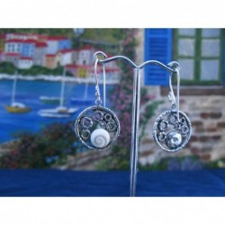 LE 0208 Earrings Shiva Eye Shell Silver