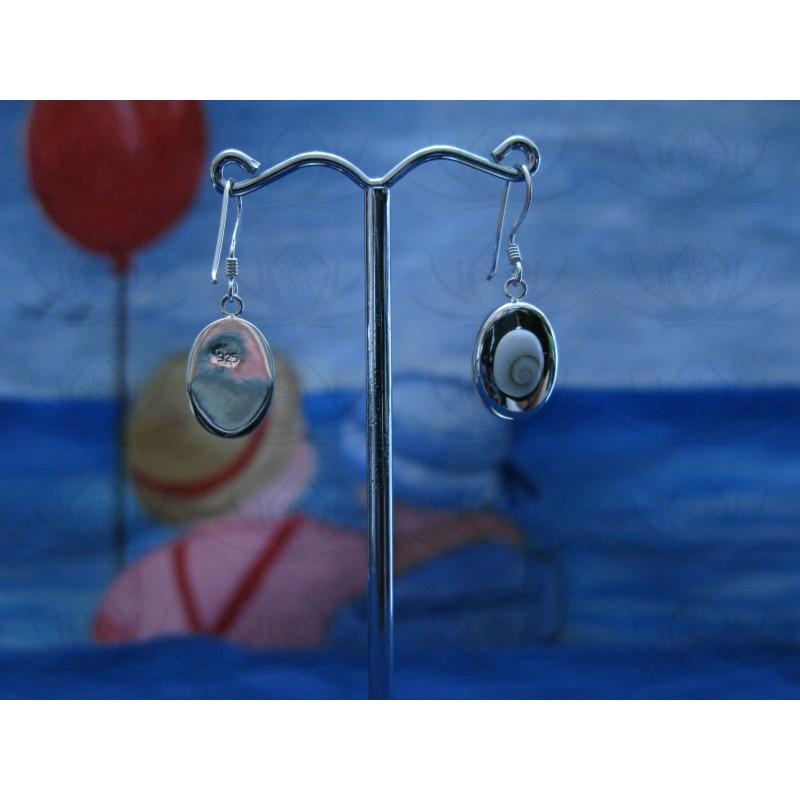 LE 0213 Earrings Shiva Eye Shell Silver