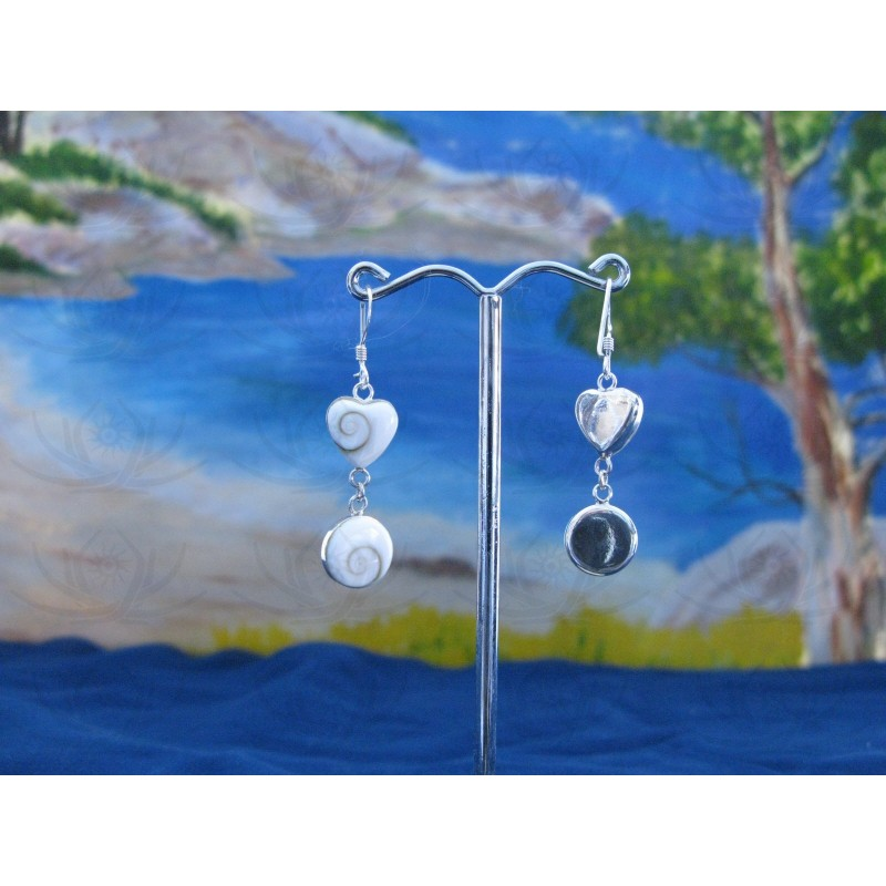 LE 0214 Earrings Shiva Eye Shell Silver