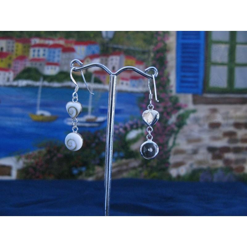 LE 0217 Earrings Shiva Eye Shell Silver