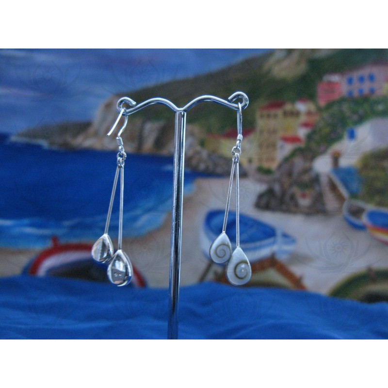 LE 0218 Earrings Shiva Eye Shell Silver