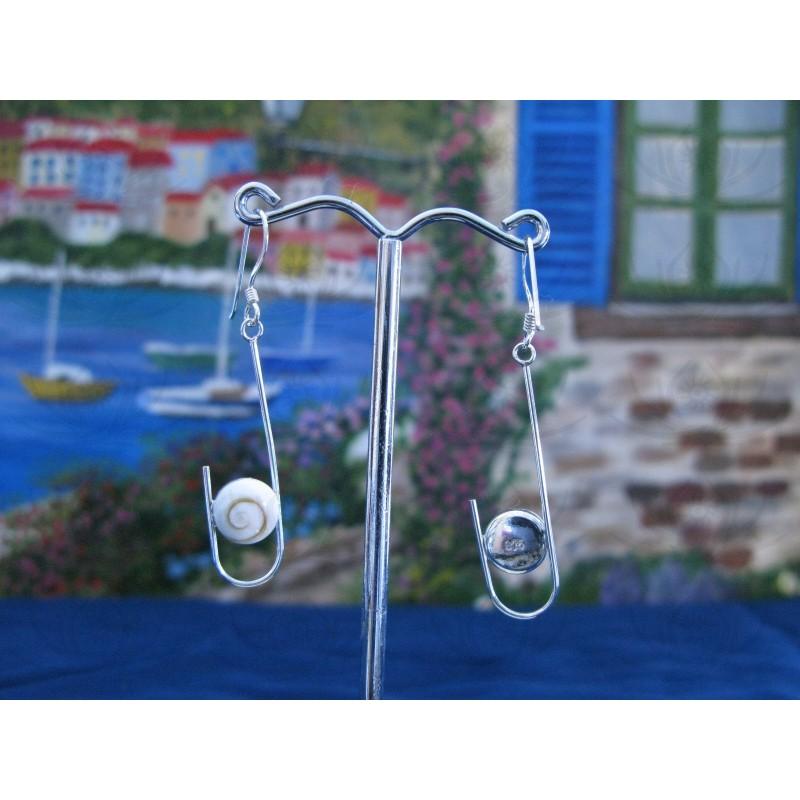 LE 0220 Earrings Shiva Eye Shell Silver