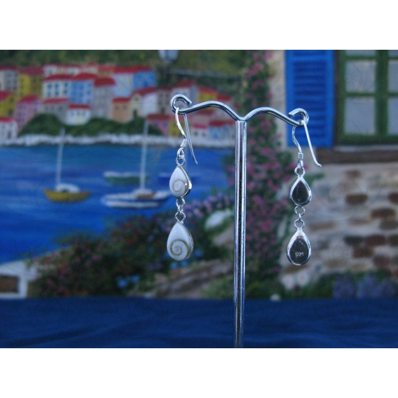 LE 0221 Earrings Shiva Eye Shell Silver