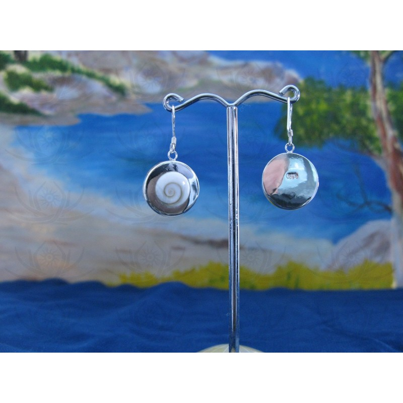 LE 0223 Earrings Shiva Eye Shell Silver