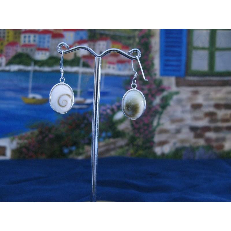 LE 0225 Earrings Shiva Eye Shell Silver