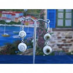 LE 0226 Earrings Shiva Eye Shell Silver