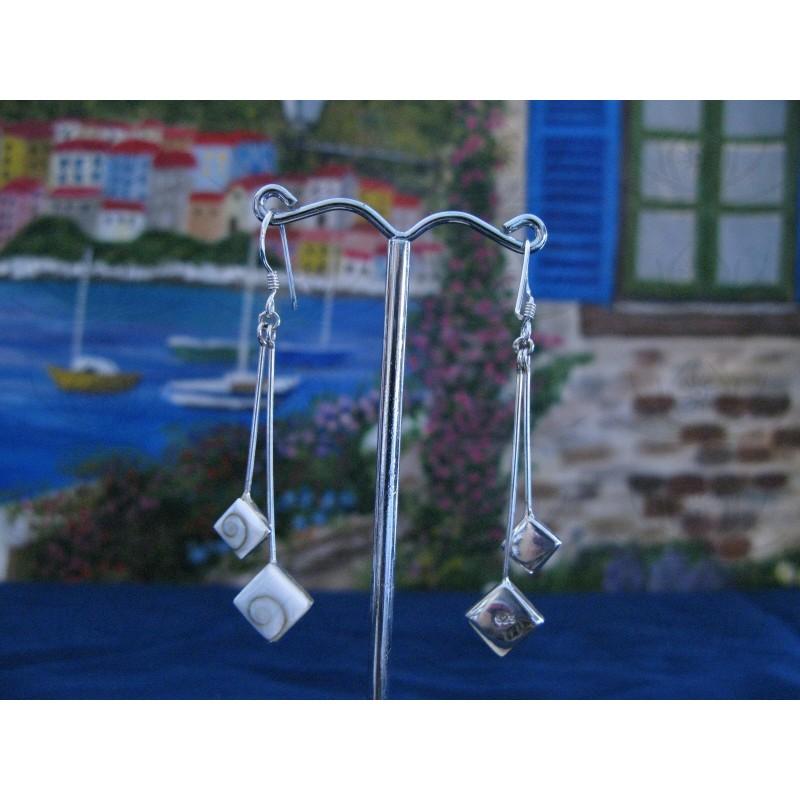 LE 0227 Earrings Shiva Eye Shell Silver