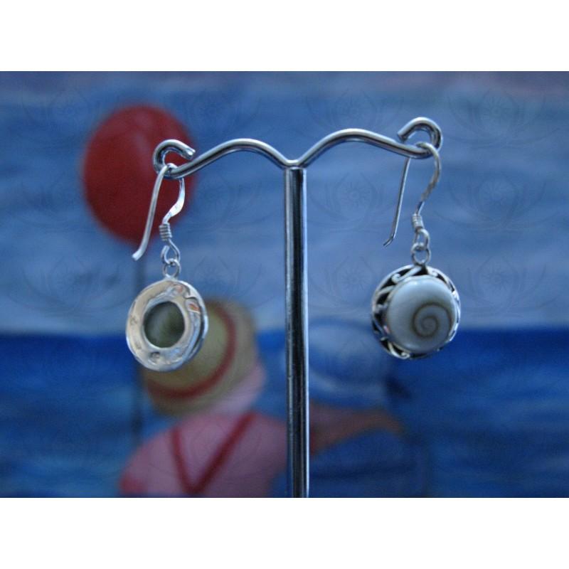 LE 0248 Earrings Shiva Eye Shell Silver