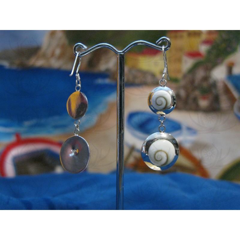 LE 0255 Earrings Shiva Eye Shell Silver