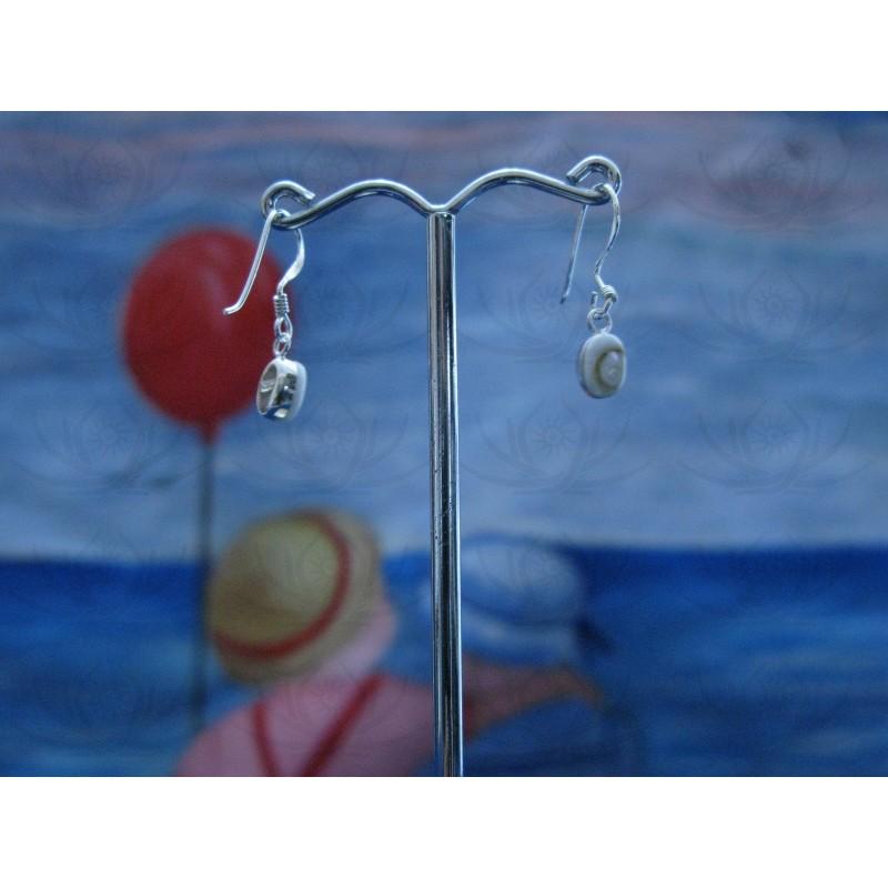 LE 0256 Earrings Shiva Eye Shell Silver
