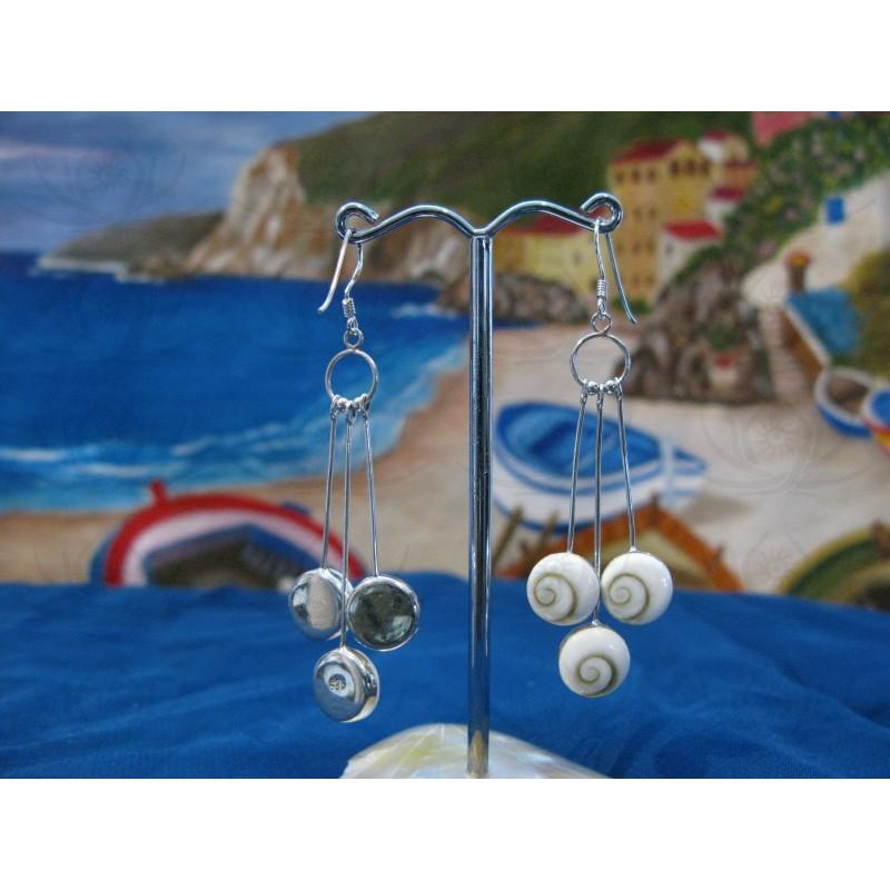 LE 0263 Earrings Shiva Eye Shell Silver