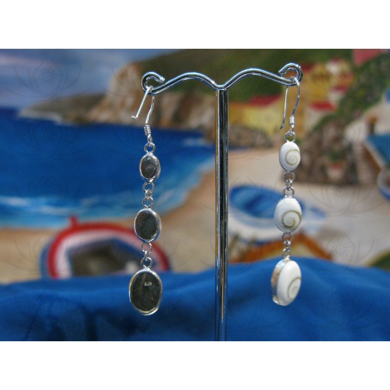 LE 0267 Earrings Shiva Eye Shell Silver