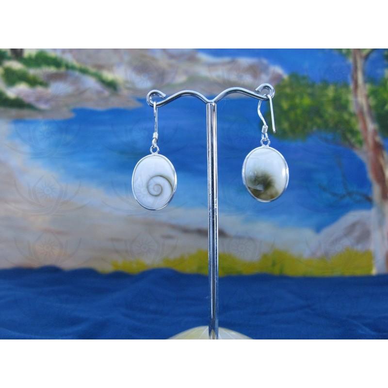 LE 0271 Earrings Shiva Eye Shell Silver