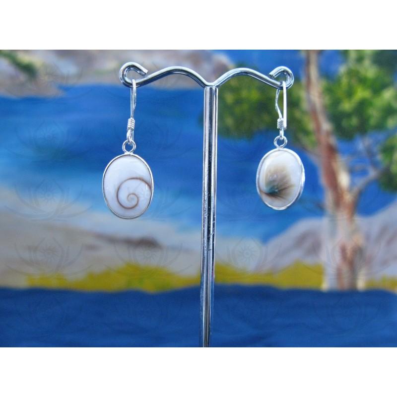 LE 0275 Earrings Shiva Eye Shell Silver
