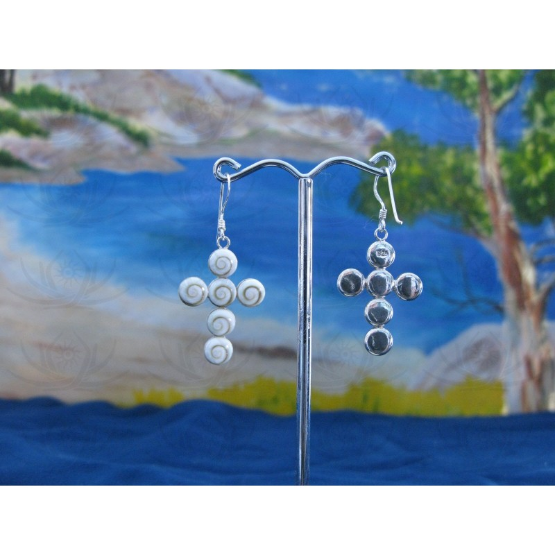 LE 0283 Earrings Shiva Eye Shell Silver