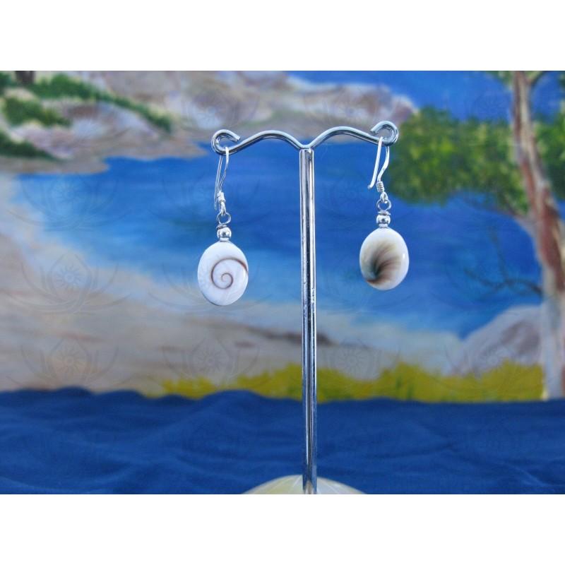 LE 0286o Earrings Shiva Eye Shell Silver