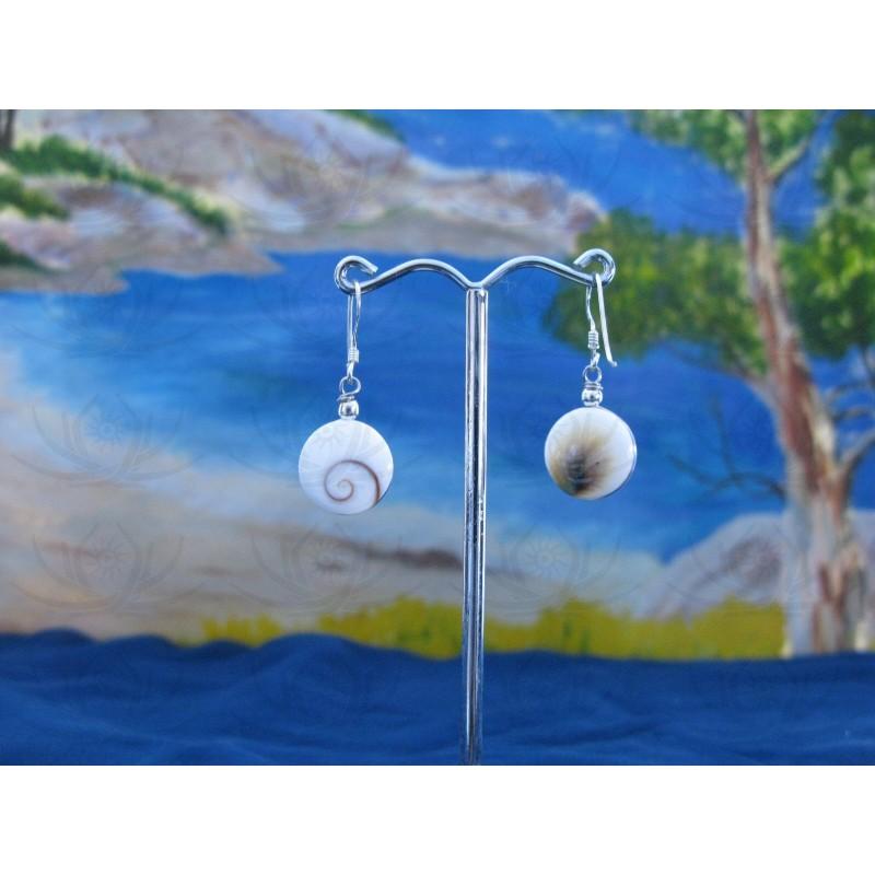 LE 0286r Earrings Shiva Eye Shell Silver