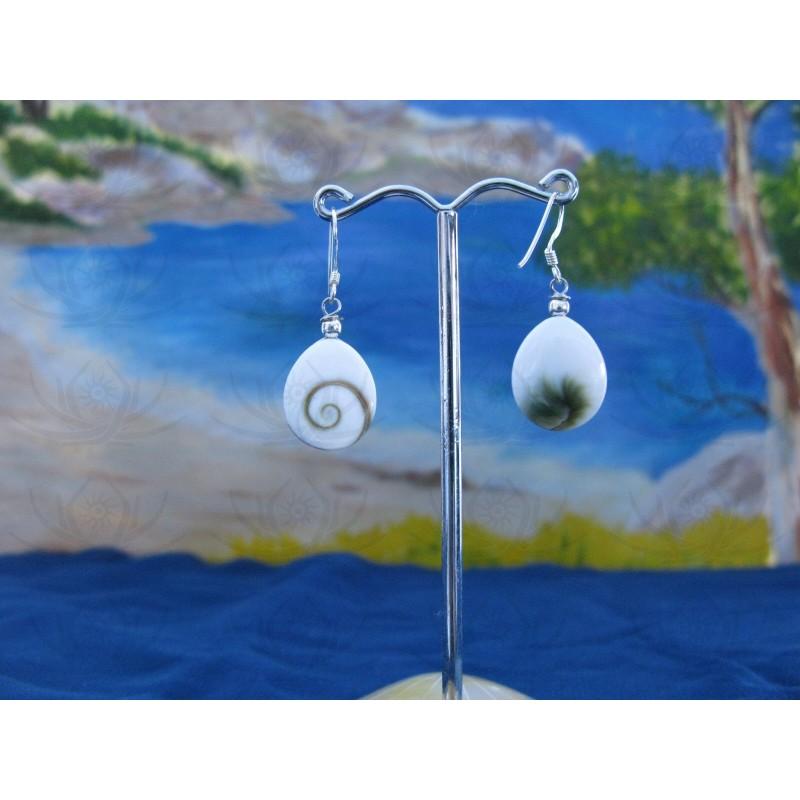 LE 0294 Earrings Shiva Eye Shell Silver
