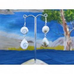 LE 0295 Earrings Shiva Eye Shell Silver