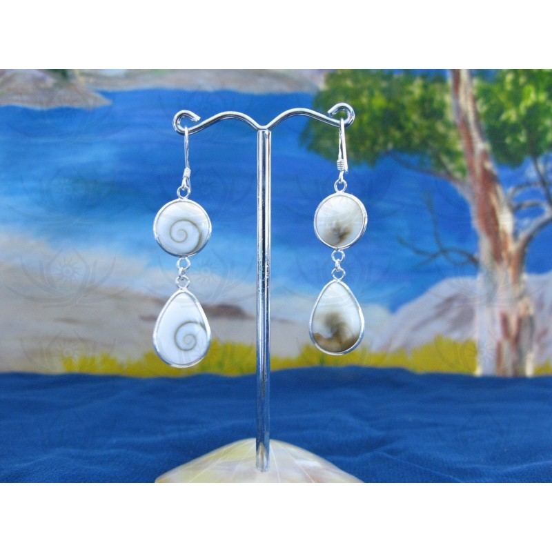 LE 0295 Earrings Shiva Eye Shell Silver