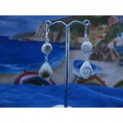 LE 0296 Earrings Shiva Eye Shell Silver