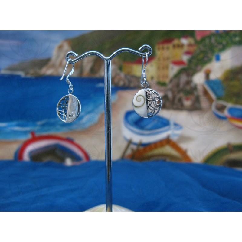 LE 0297 Earrings Shiva Eye Shell Silver