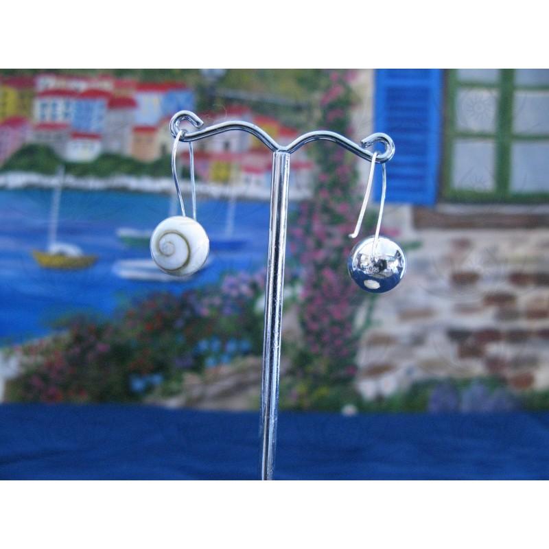LE 0300 Earrings Shiva Eye Shell Silver