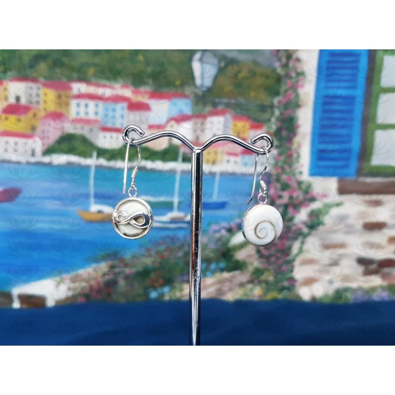 LE 0301 Earrings Shiva Eye Shell Silver
