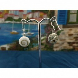 LE 0304 Earrings Shiva Eye Shell Silver