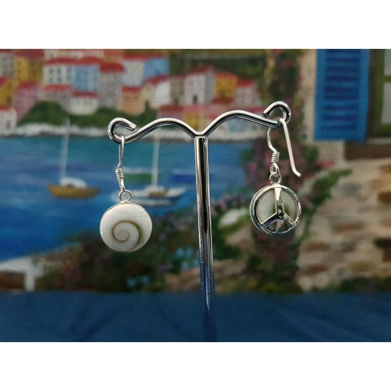 LE 0305 Earrings Shiva Eye Shell Silver