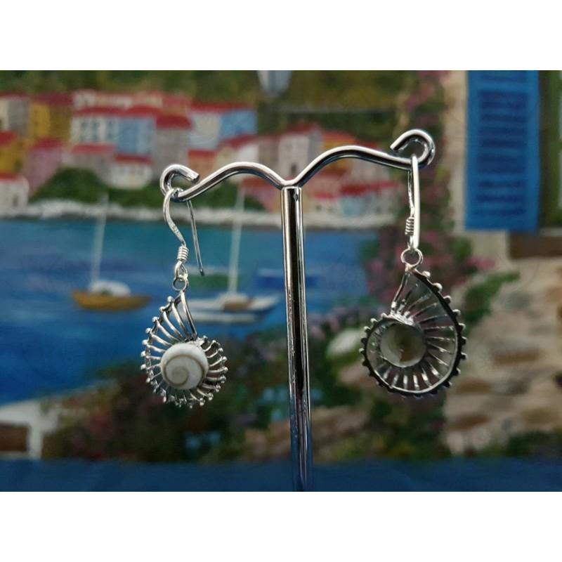 LE 0306 Earrings Shiva Eye Shell Silver