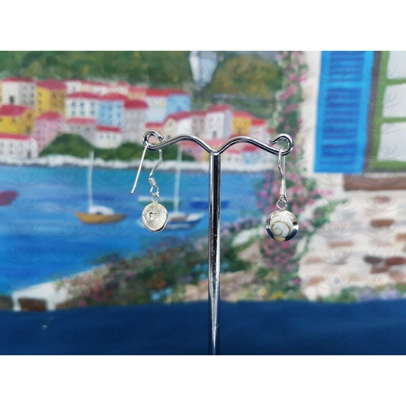 LE 0314 Earrings Shiva Eye Shell Silver