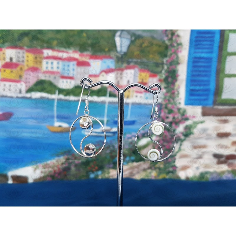 LE 0319 Earrings Shiva Eye Shell Silver