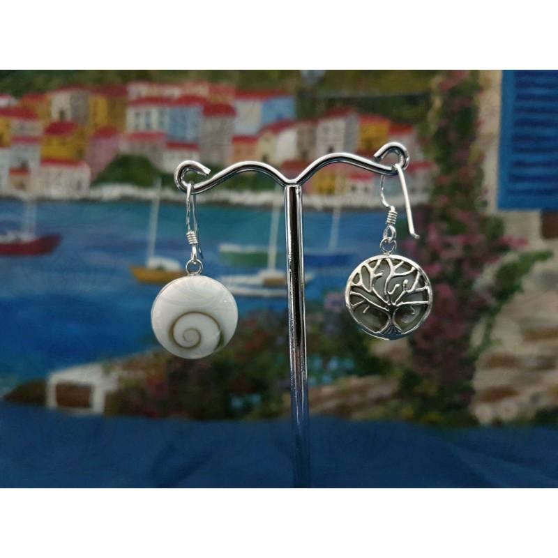 LE 0344 Earrings Shiva Eye Shell Silver