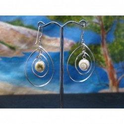 LE 0352 Earrings Shiva Eye Shell Silver