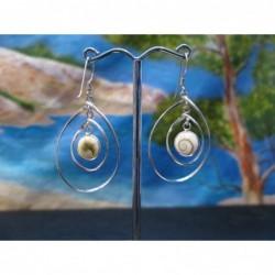 LE 0352 Earrings Shiva Eye Shell Silver