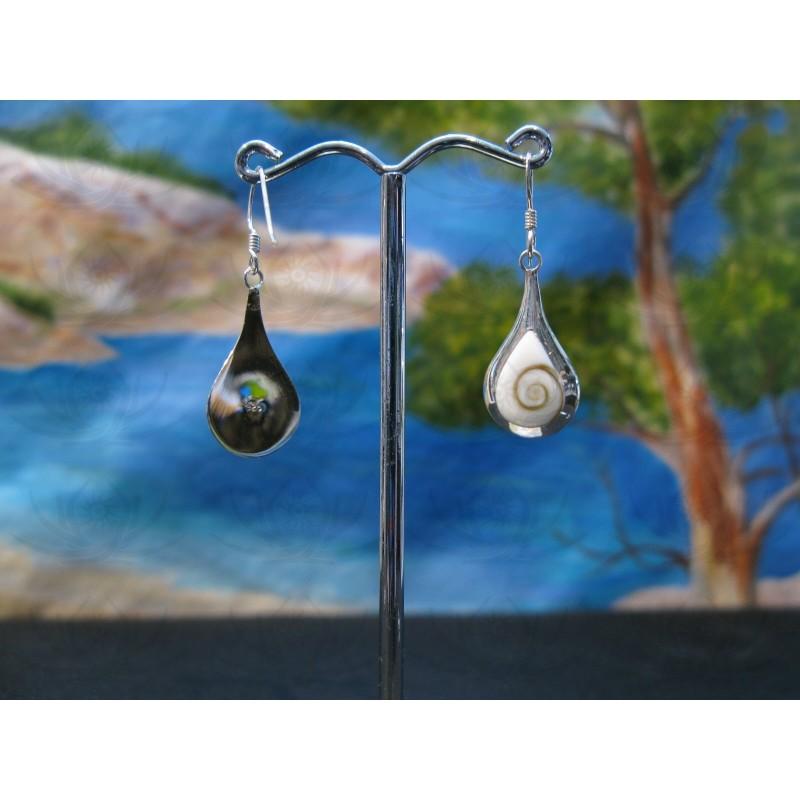 LE 0361 Earrings Shiva Eye Shell Silver
