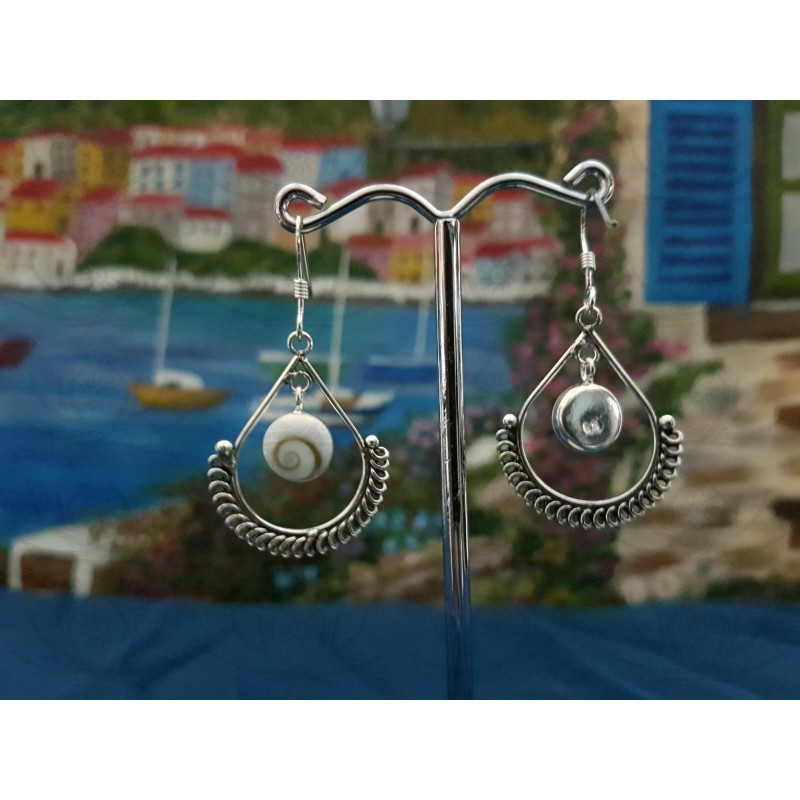LE 0382 Earrings Shiva Eye Shell Silver
