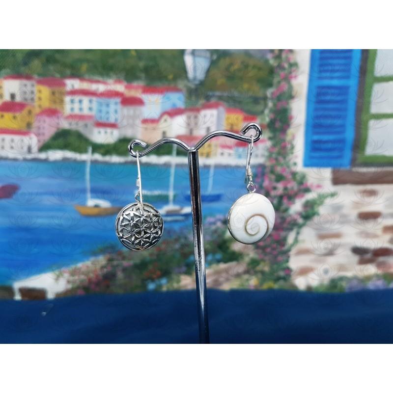 LE 0391 Earrings Shiva Eye Shell Silver