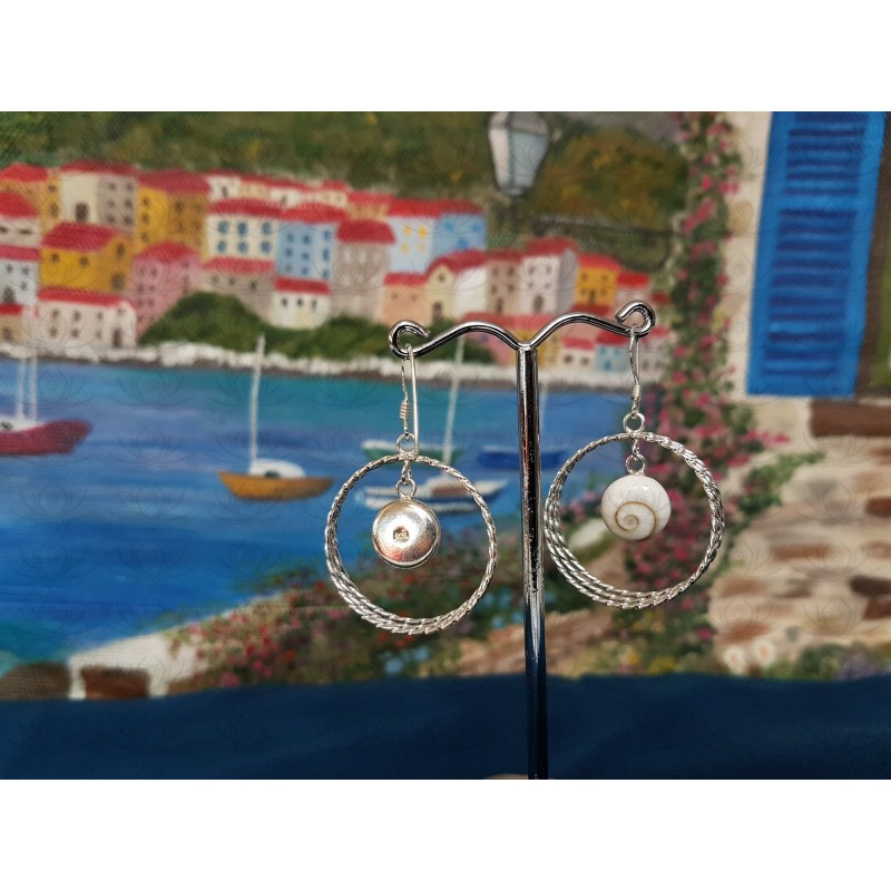 LE 0395 Earrings Shiva Eye Shell Silver
