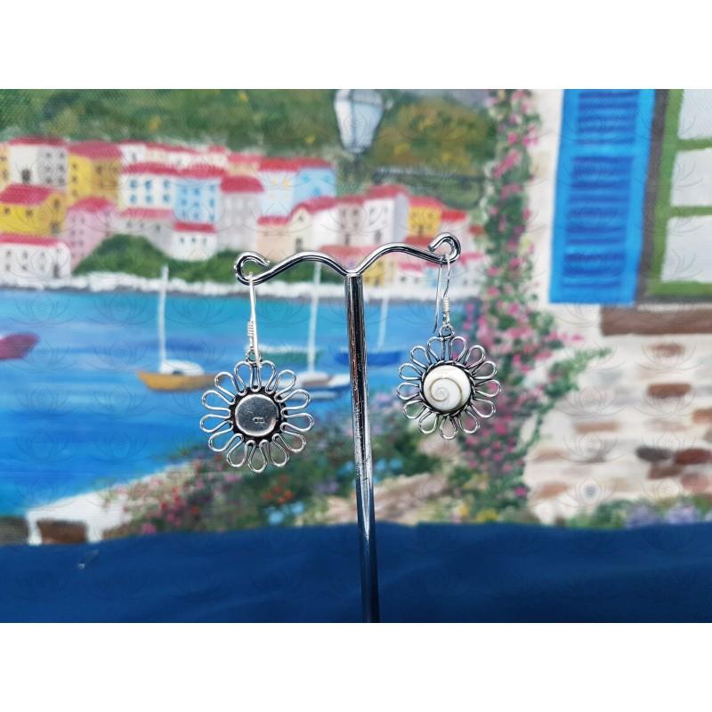 LE 0401 Earrings Shiva Eye Shell Silver