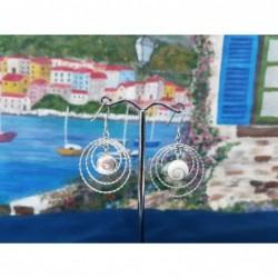 LE 0404 Earrings Shiva Eye Shell Silver